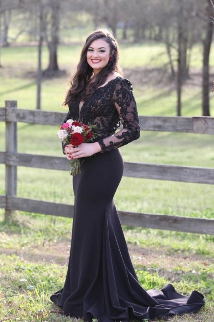 Evening dress black long | Evening dresses with sleeves