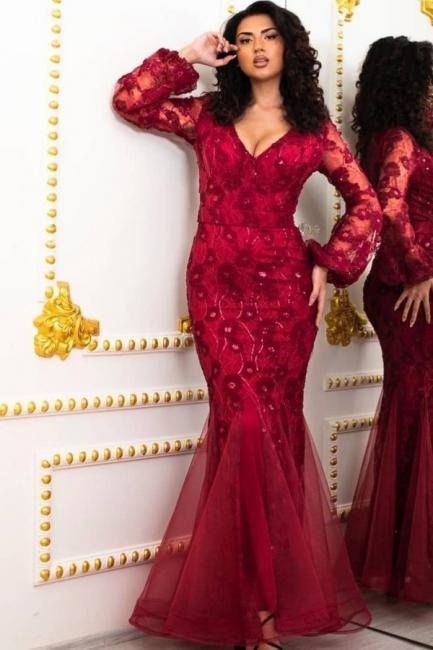 Elegante Abendkleider Lang Rot | Abendmoden mit Ärmel