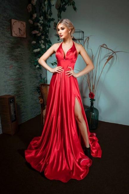 Red Evening Dress Long V Neck | Prom dresses under 100