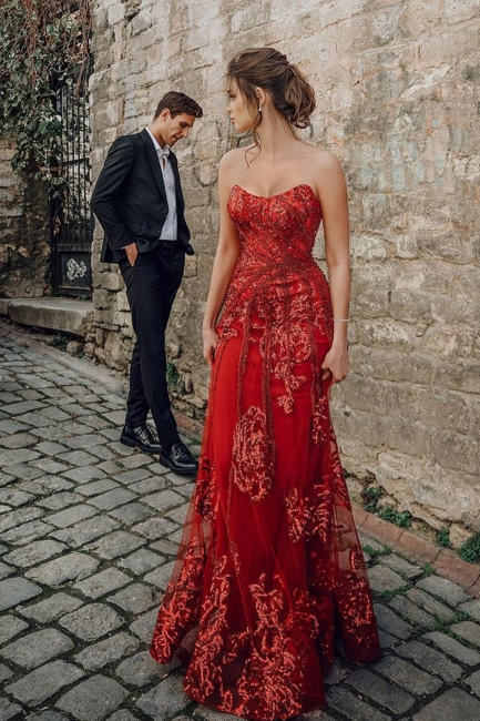 Evening dress red long cheap | Festive dresses prom dresses