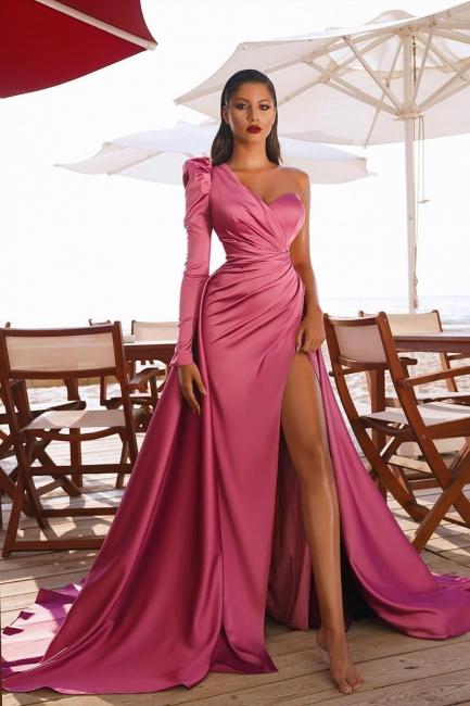Abiballkleider mit Ärmel | Abendkleid Lang Rosa
