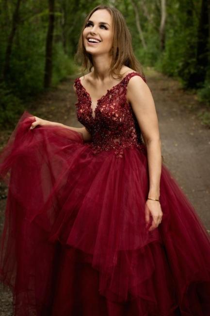 Elegant Evening Dresses Long V Neck | Red prom dresses
