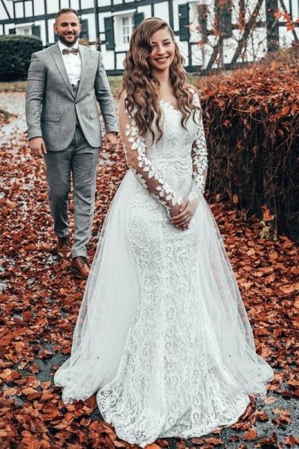 Hochzeitskleid Langarm | Brautkleider Spitze Günstig