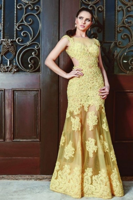 Evening dresses long yellow | Prom dresses with lace
