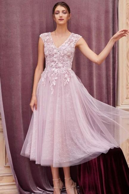 Elegant evening dresses pink | Short lace cocktail dresses