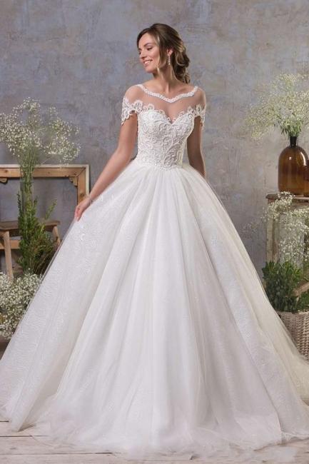 Schlichte Hochzeitskleider A Linie | Brautkleid Tüll