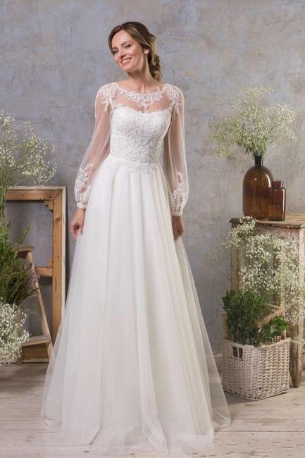 Boho wedding dresses with sleeves | A line wedding dress tulle