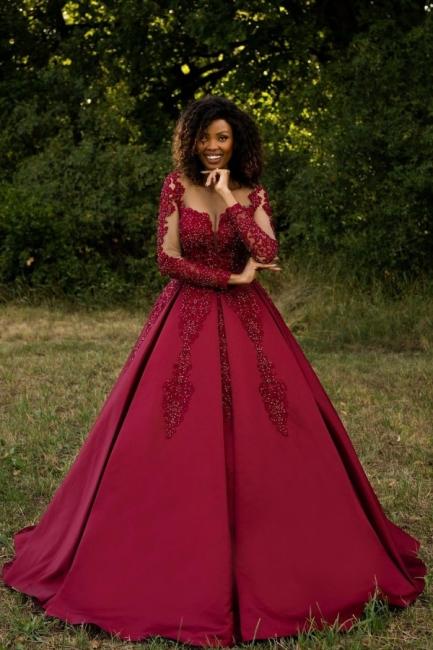 Burgundy wedding dresses | Wedding dress lace A line