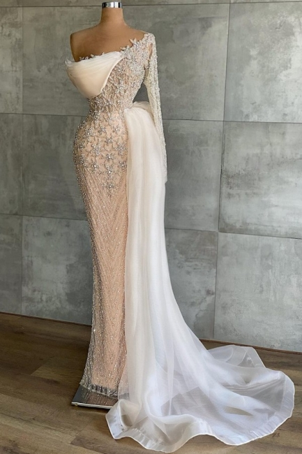 Extravagant evening dresses with sleeves | Long glitter prom dresses