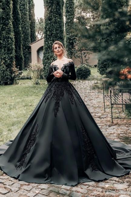 Princess Wedding Dresses Black | Wedding dresses with sleeves