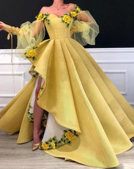 Einfach Gelb Lang Abschlussballkleider Günstig Satin Abednkleider Abendmoden