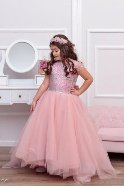 Rosa Blumenmädchenkleider Günstig | Kinder Hochzeitskleider