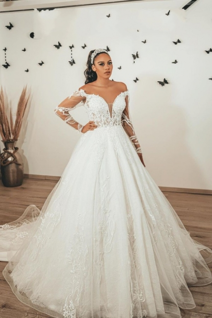 Modern wedding dresses with sleeves | Wedding dresses A line lace