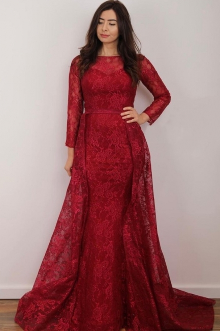 Red Evening Dresses Long Lace | Prom dresses with sleeves