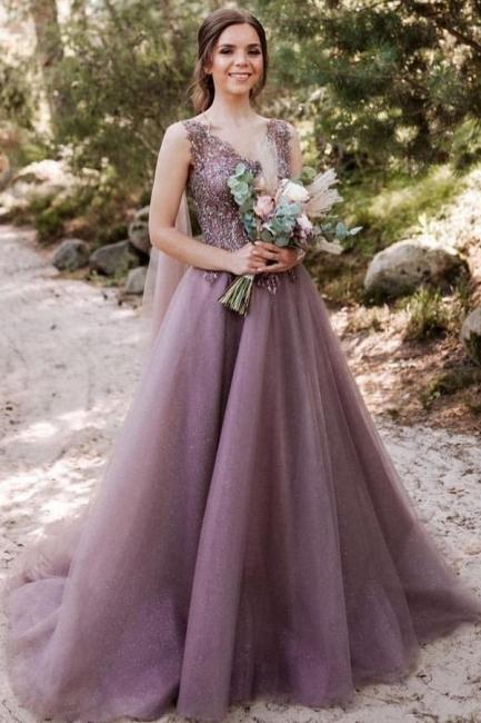 Schöne Abendkleider Lang V Ausschnitt | Abiballkleider mit Glitzer
