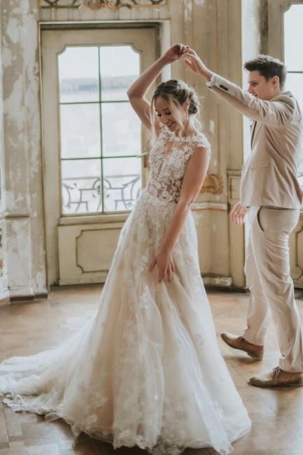 Schlichtes Hochzeitskleid Spitze | Boho Brautkleider Günstig