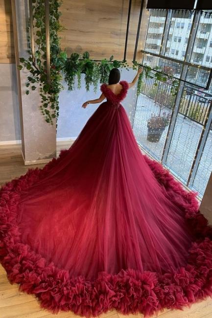 Rotes Brautkleid A Linie | Hochzeitskleider Günstig Bestellen