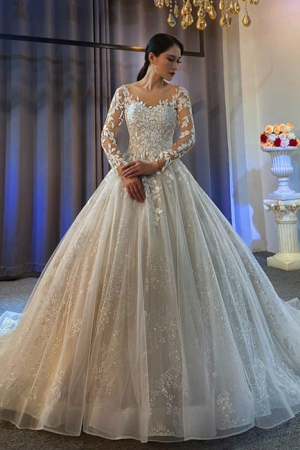 Extravagant wedding dresses A line | Lace wedding dresses with sleeves