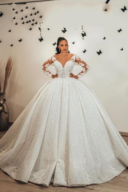 Wunderschöne Brautkleider Glitzer | Prinzessin Hochzeitskleider mit Ärmel