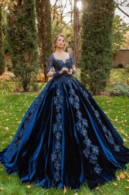 König Blau Velvet Abendkleider Mit Ärmel | Abiballkleider Lang Günstig