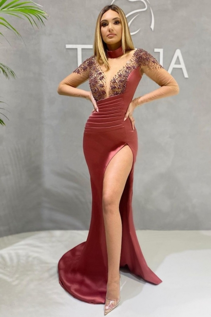 Sexy Abiballkleider Lang Rot | Ballkleider mit Ärmel