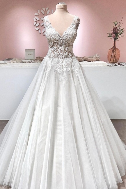 Vintage wedding dress A line lace | Wedding dresses tulle online