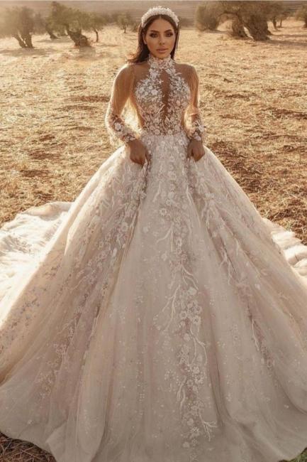 Extravagante Hochzeitskleider Mit Spitze | Brautkleider Lange Ärmel