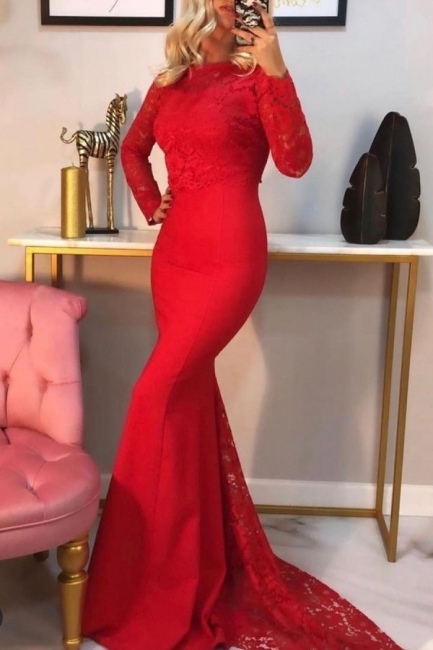 Evening dress long red | Lace prom dresses with sleeves