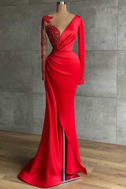 Red evening dress long | Prom dresses with sleeves