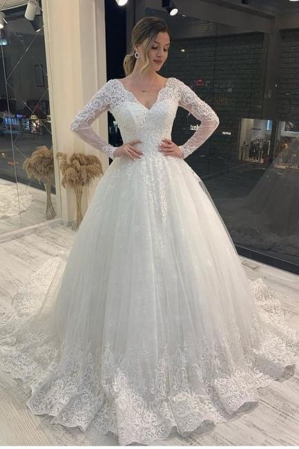 Brautkleider A Linie Spitze | Hochzeitskleider Glitzer Mit Ärmel