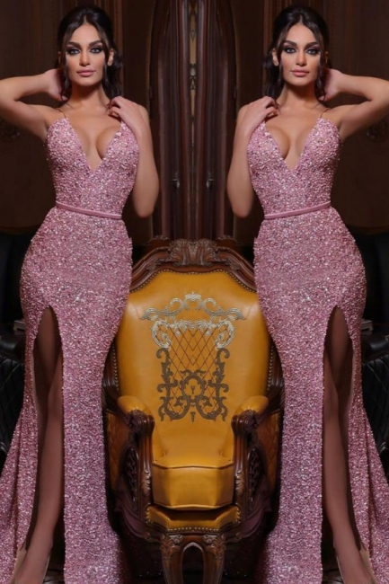 Evening dress long pink | Prom dresses with glitter