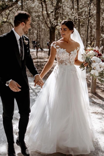 Simple wedding dress A line | Wedding dresses with lace
