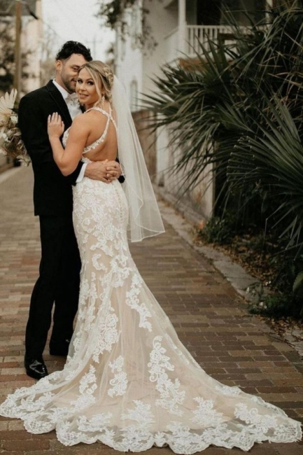 Elegant mermaid wedding dresses | Lace wedding dresses cheap