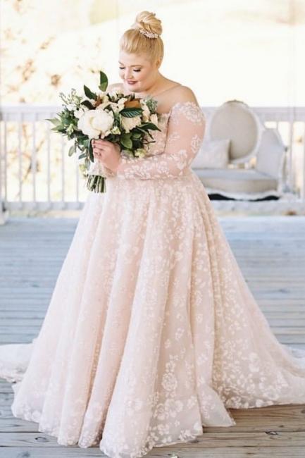 Brautkleider Große Größe | Übergroße Hochzeitskleider mit Ärmel