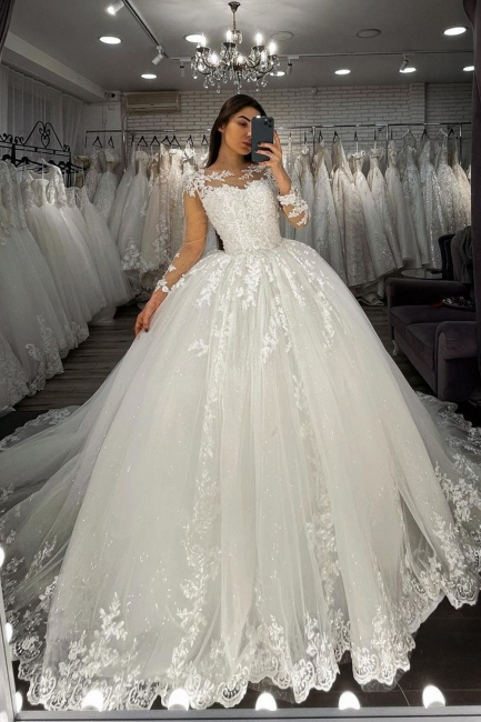 Designer wedding dresses princess | Wedding dresses with lace sleeves