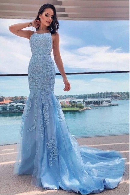 Light Blue Evening Dresses Long Cheap | Prom dresses with lace