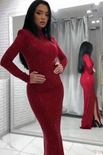 Elegante Abendkleider Lang Glitzer | Abendmoden Rot Online