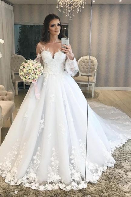 Designer Hochzeitskleid A Linie Spitze | Brautkleider mit Ärmel