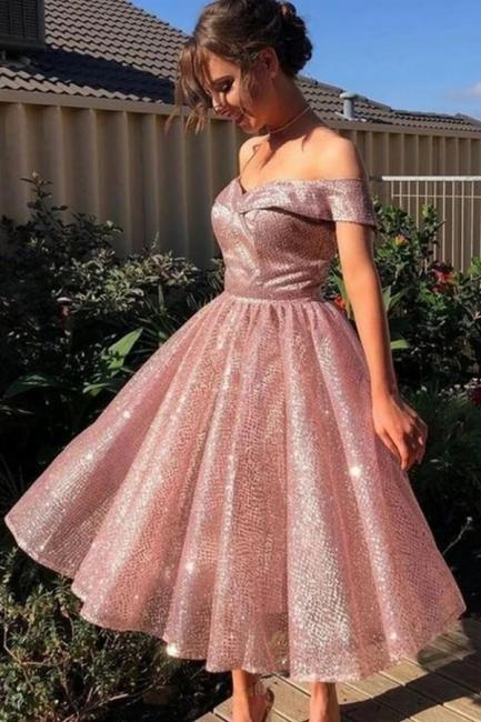 Rosa Cocktailkleider Kurz | Günstige Abendkleider Glitzer