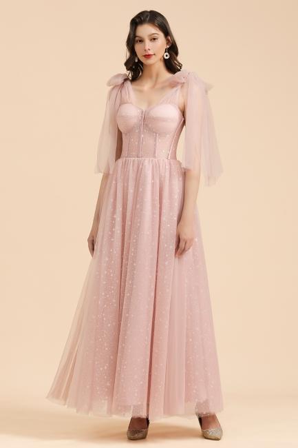 Schöne Brautjungfernkleider Lang Rosa Mit Ärmel