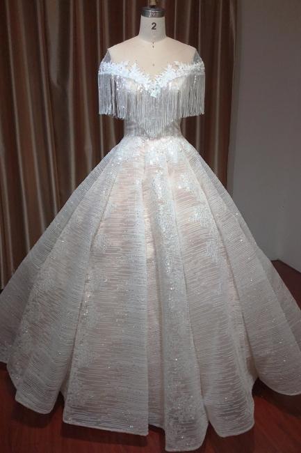 Luxury Brautkleider A Linie | Spitze Hochzeitskleider Günstig