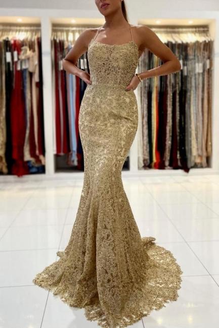 Gold Abendkleider Lang Spitze | Abiballkleider Günstig Kaufen