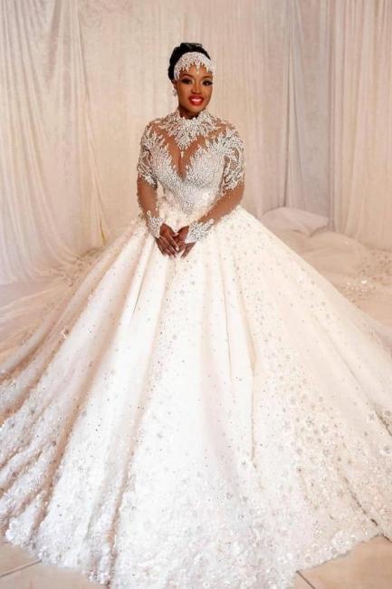 Elegante Brautkleider Prinzessin   Hochzeitskleider mit Spitzeärmel