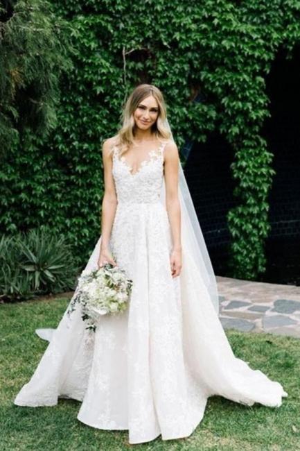 Gorgeous lace wedding dresses | A line wedding dress cheap