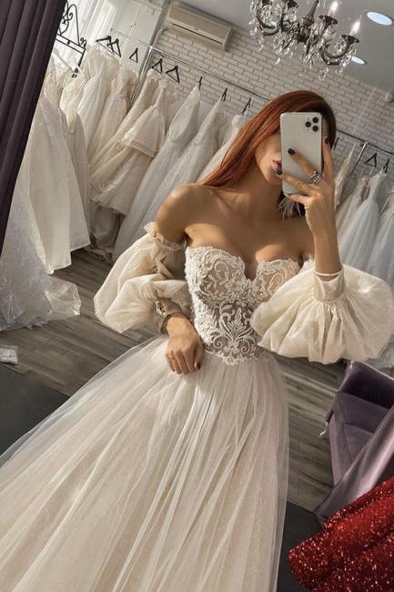 Designer Brautkleider Mit Ärmel | Hochzeitskleider A Linie