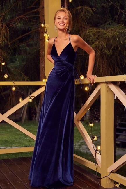 Velvet Evening Dresses Long Cheap | Prom dresses king blue