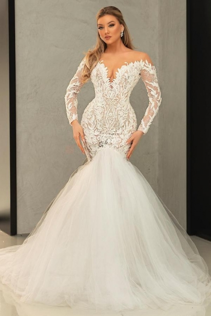 Mermaid wedding dress with lace | Tulle wedding dresses with sleeves