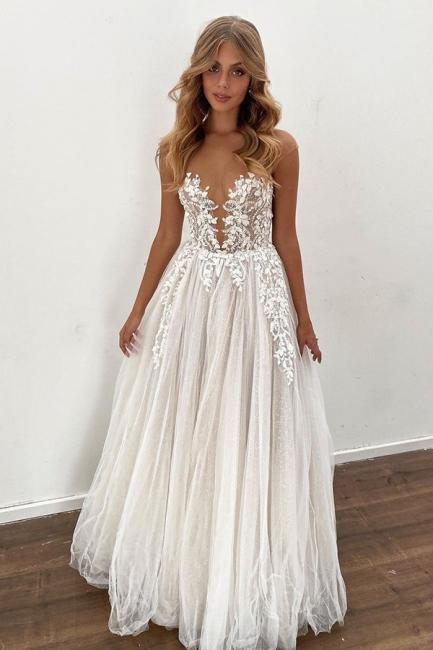 Brautkleid A Linie Spitze | Hochzeitskleider Online kaufen