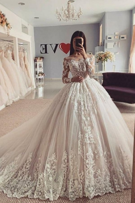 Elegant wedding dresses A line | Wedding dresses with lace sleeves