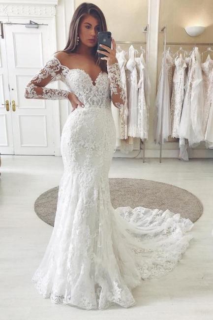 Wunderschöne Hochzeitskleider Mit Ärmel   Brautkleider Spitze Meerjungfrau